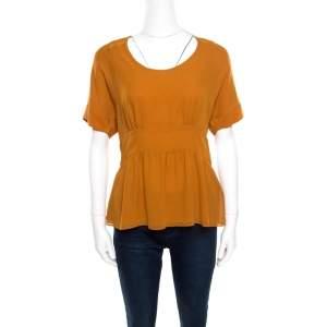 Etro Mustard Brown Silk Smocked Waist Short Sleeve Top L