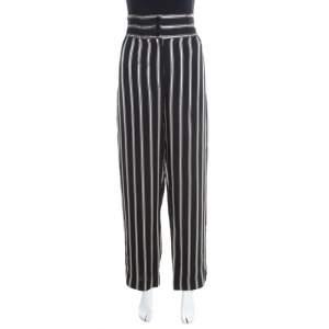 Etro Monochrome Striped Twill Elasticized Waist Wide Leg Pants M