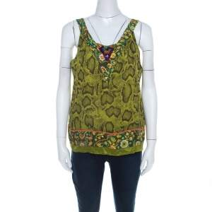 Etro Lime Green Snakeskin Print Silk Embellished Sleeveless Top L