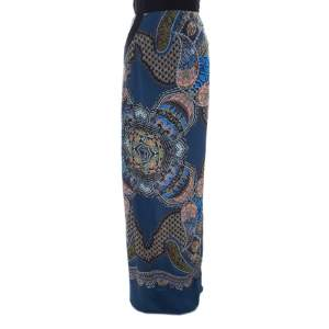 Etro Blue Abstract Print Silk Maxi Skirt M
