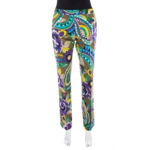 Etro Multicolor Printed Cotton Straight Fit Trouser M