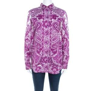 Etro Purple Paisley Print Cotton Stretch Button Front Shirt M