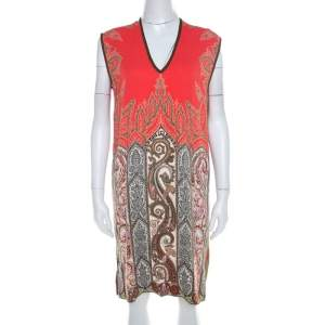 Etro Multicolor Paisley Printed  Stretch Crepe Shift Dress M