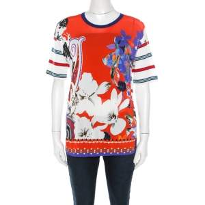Etro Multicolor Abstract Print Stretch Knit Top S