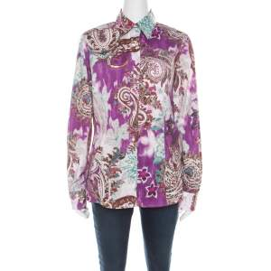 Etro Multicolor Paisley Print Cotton Stretch Button Front Shirt L