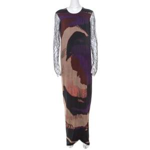 Etro Multicolor Printed Jersey Lace Sleeve Detail Maxi Dress L