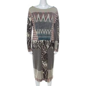 Etro Multicolor Abstract Print Wool Knit Sheath Dress L