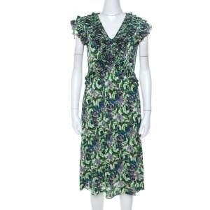 Etro Multicolor Floral Print Jersey Ruffle Neck Midi Dress M