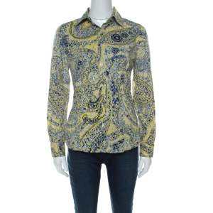 Etro Yellow Paisley Print Cotton Button Front Blouse S