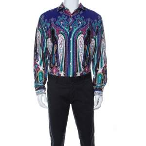 Etro Multicolor Paistley Print Cotton Shirt L