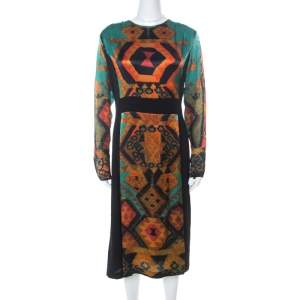 Etro Black & Multicolor Ikat Print Satin & Crepe Full Sleeve Dress M