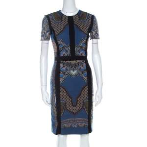 Etro Blue Printed Wool Blend Sheath Dress S