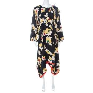 Etro Multicolor Floral Printed Linen Wrap Dress L