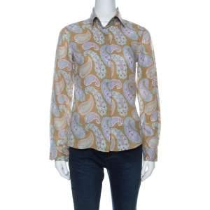 Etro Multicolor Paisley Print Linen Long Sleeve Button Front Shirt S