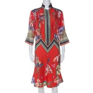 Etro Red Printed Silk Midi Dress M