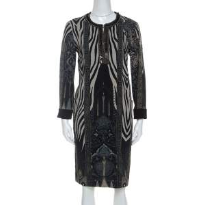 Etro Grey Zebra Print Embellished Neckline Shift Dress M