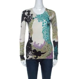Etro Multicolor Paisley Print  Silk and Cashmere Blend Sweater M