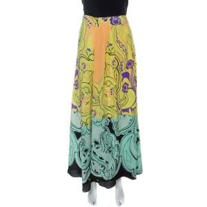 Etro Multicolor Printed Silk Front Pleat Detail Maxi Skirt M