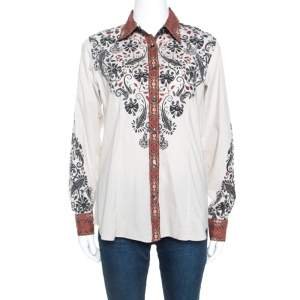 Etro Beige Printed Stretch Cotton Button Front Shirt L