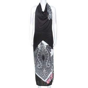 Etro Black Paisley Print Cowl Halterneck Maxi Dress M