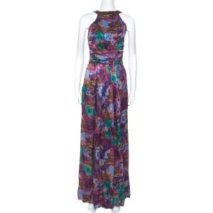 Etro Multicolor Printed Silk Ruched Waist Maxi Dress M