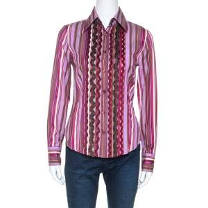 Etro Multicolour Striped Cotton Ruffled Detail Shirt S