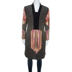 Etro Black Printed Textured Silk Long Sleeve Coat L