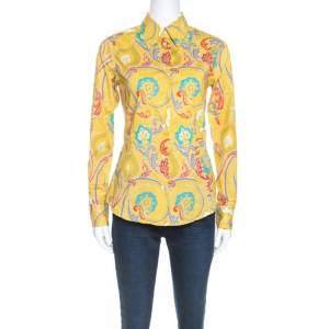 Etro Yellow Paisley Printed Stretch Cotton Long Sleeve Shirt S
