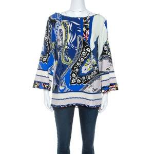 Etro Blue Printed Wool Crepe Top L
