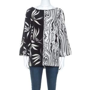 Etro Monochrome Paisley and Leaf Print Silk Blouse M