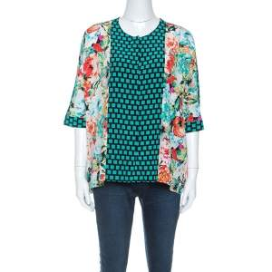 Etro Multicolor Mixed Print Silk Dolman Sleeve Blouse M