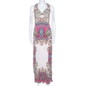 Etro Multicolor Paisley Print Crepe Maxi Dress L