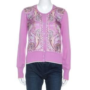Etro Lavender Paisley Print Silk Sleeveless Top and Cardigan Set M
