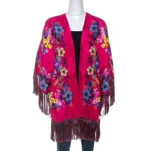 Etro Pink Floral Print Crepe Fringe Trim Kimono One Size