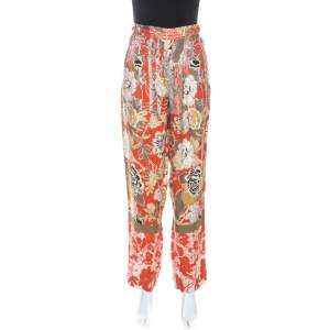Etro Multicolor Floral Print High Waist Trousers M