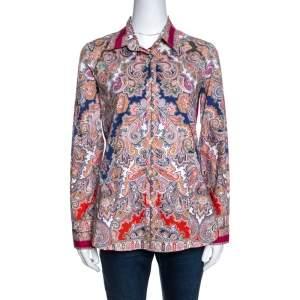 Etro Multicolor Paisley Print Stretch Cotton Button Front Shirt M