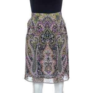 Etro Multicolor Paisley Print Silk Skirt S