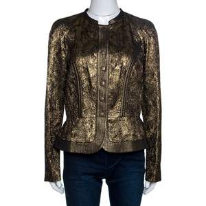 Etro Metallic Lurex Textured Peplum Buttoned Jacket M