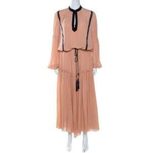 Etro Peach Textured Silk Waist Tie Detail Maxi Dress M