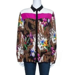Etro Multicolor Floral Printed Silk Long Sleeve Shirt L