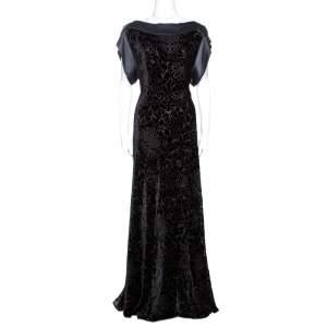 Etro Black Devore Velvet Maxi Dress L
