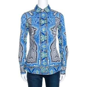 Etro Blue Printed Stretch Cotton Long Sleeve Shirt S