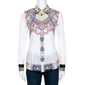 Etro White Paisley Printed Stretch Cotton Shirt S