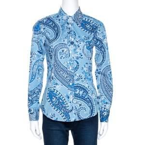 Etro Blue Paisley Print Stretch Cotton Shirt S