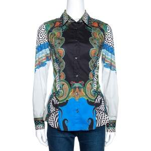 Etro Multicolor Paisley Print Stretch Cotton Tribal Accent Shirt S