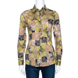 Etro Green Paisley Patch Print Stretch Cotton Shirt S