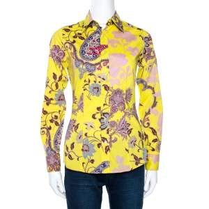 Etro Yellow Floral Paisley Print Stretch Cotton Shirt S