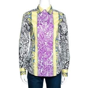 Etro Multicolor Panelled Paisley Print Stretch Cotton Shirt S