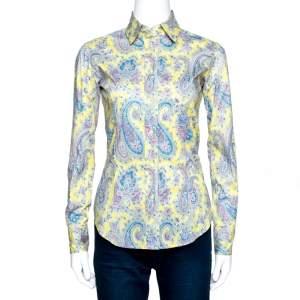 Etro Lemon Yellow Paisley Print Stretch Cotton Shirt S