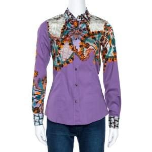 Etro Purple Floral Leaf Print Stretch Cotton Shirt S